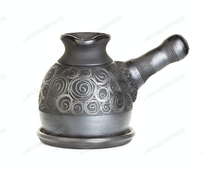 Ceramic, clay cezve isolated on white background