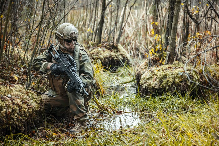 norwegian soldier in the forest