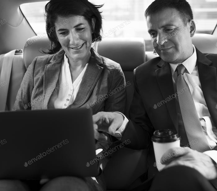 Business People Meeting Working Car Inside