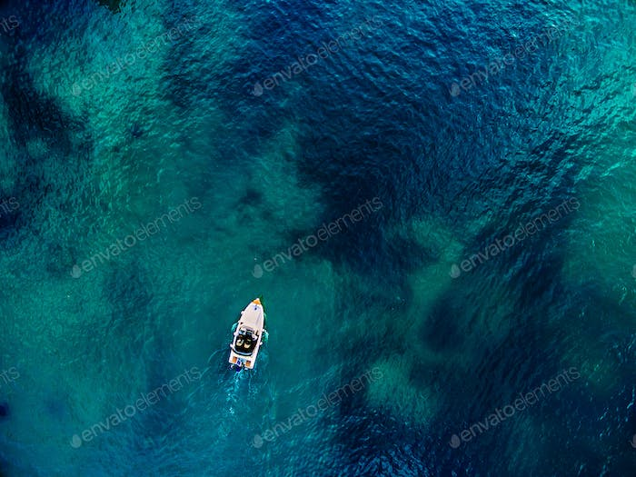 Aerial view of speed boat and blue sea in Croatia.