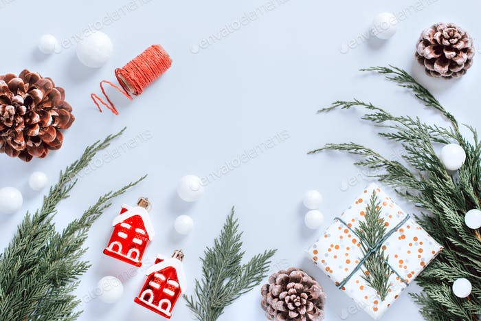 White minimal Christmas background, flat lay, copy space