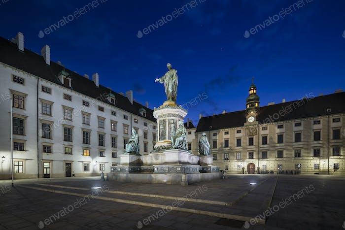 Vienna Hofburg And Kaiser Franz Statue At Night, Austria