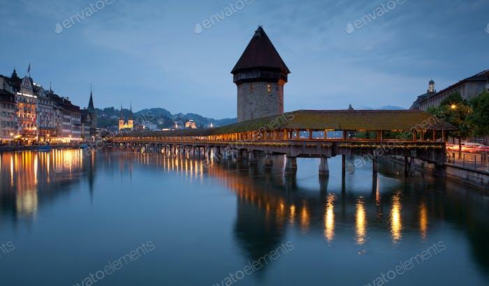 Famous covered wooden footbridge in Lucerne, Switzerland