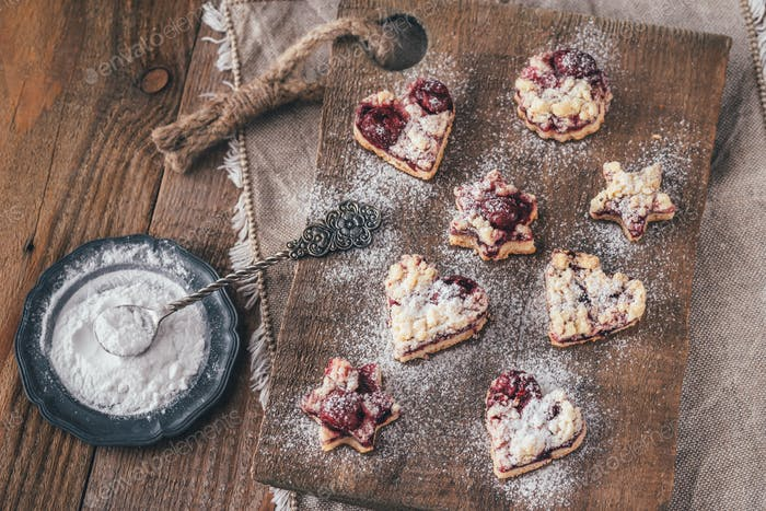 Shortbread biscuits with cherry filling