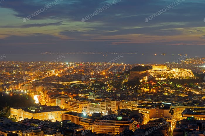 The center of Athens after sunset