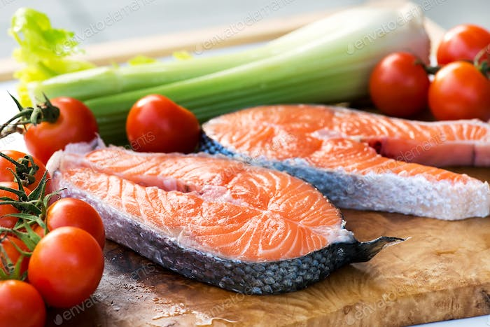 Two slices of gourmet fresh pink salmon