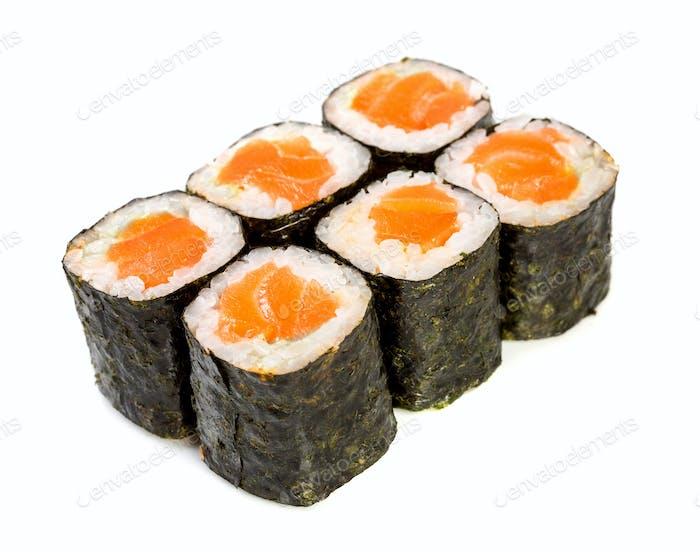 Sushi (Roll syake maki) on a white background