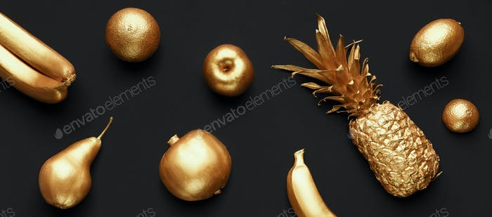 Collage of golden fruits