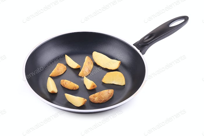 Fried potato in the pan.