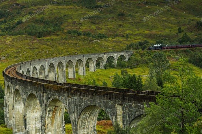 Glenfinnan Viaduct in Scottish Highlands