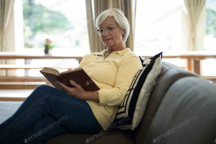 Senior woman reading book on sofa in living room