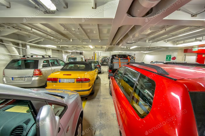 Passenger cars in marine ferry
