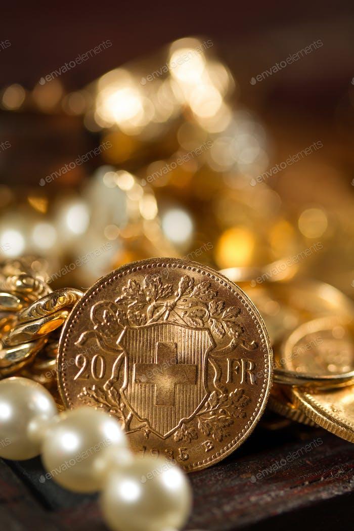 Twenty Swiss Francs coins