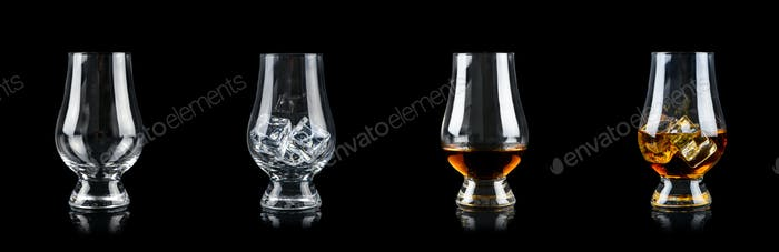 Set of four glasses for alcoholic drinks on black background