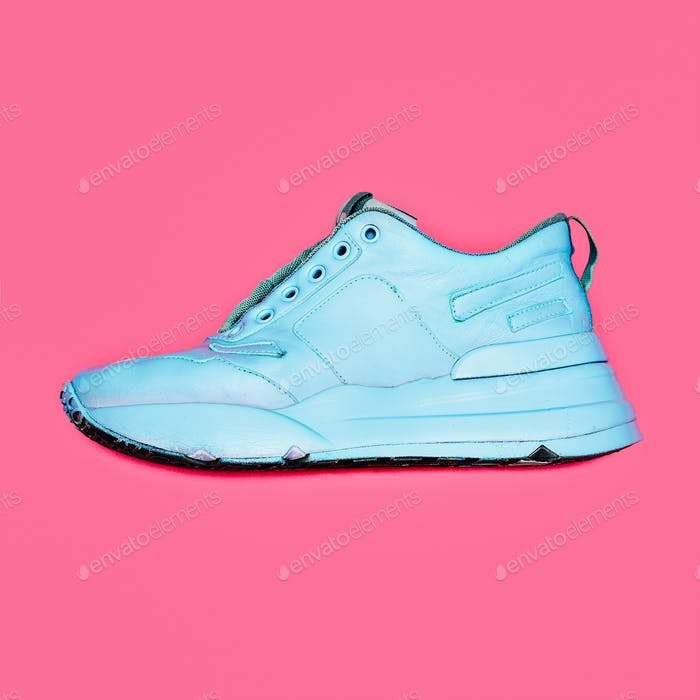 Blue Sneakers  platform. Art gallery Minimal design
