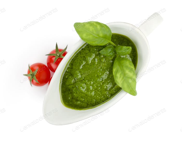 Pesto sauce and cherry tomatoes