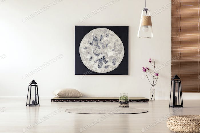 Bright and simple bedroom interior with asian style tatami mat b