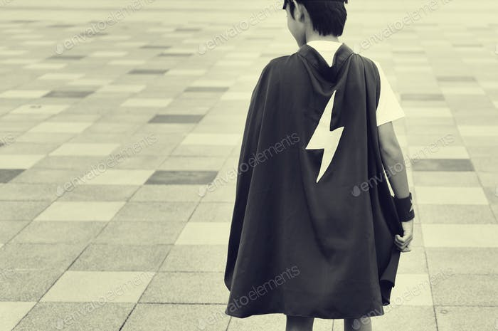 Superhero Boy Kid Custome Energiekonzept