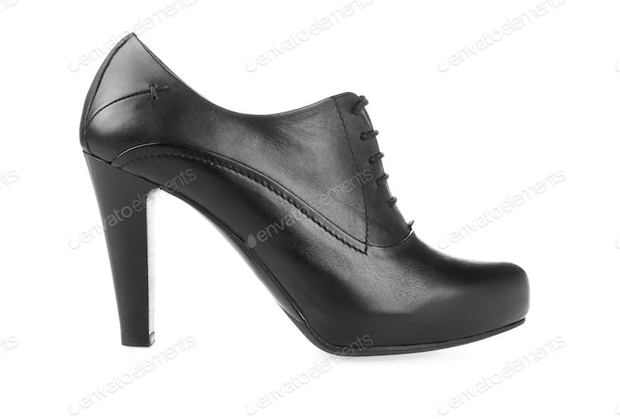 High heel pump black leather women shoe on white