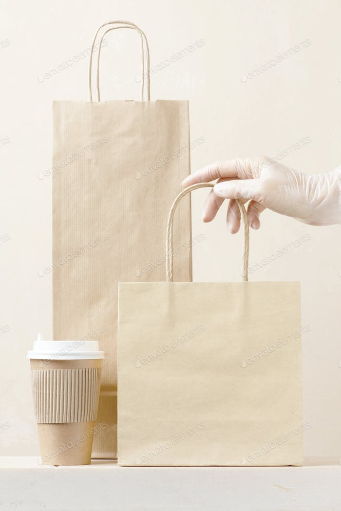 Eco Friendly Package and Gloved Hand