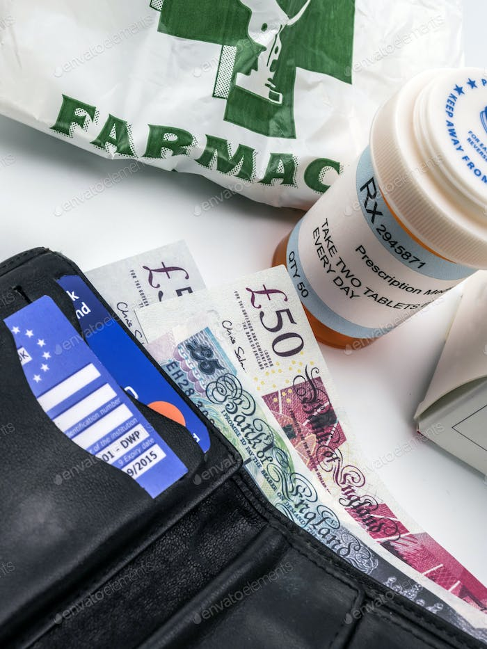 Medicines next to a wallet with British currency, european union, brexit
