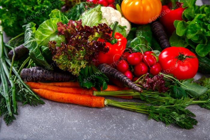Background of vegetables.Different Fresh Farm Vegetables. Harvest.