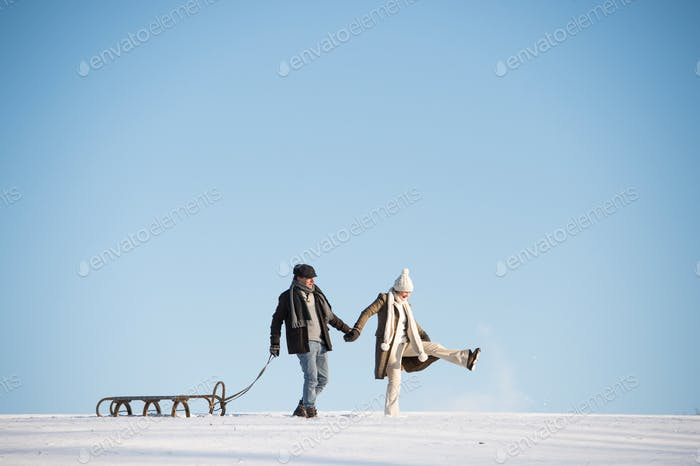 Beautiful senior couple on a walk pulling sledge, winter day.