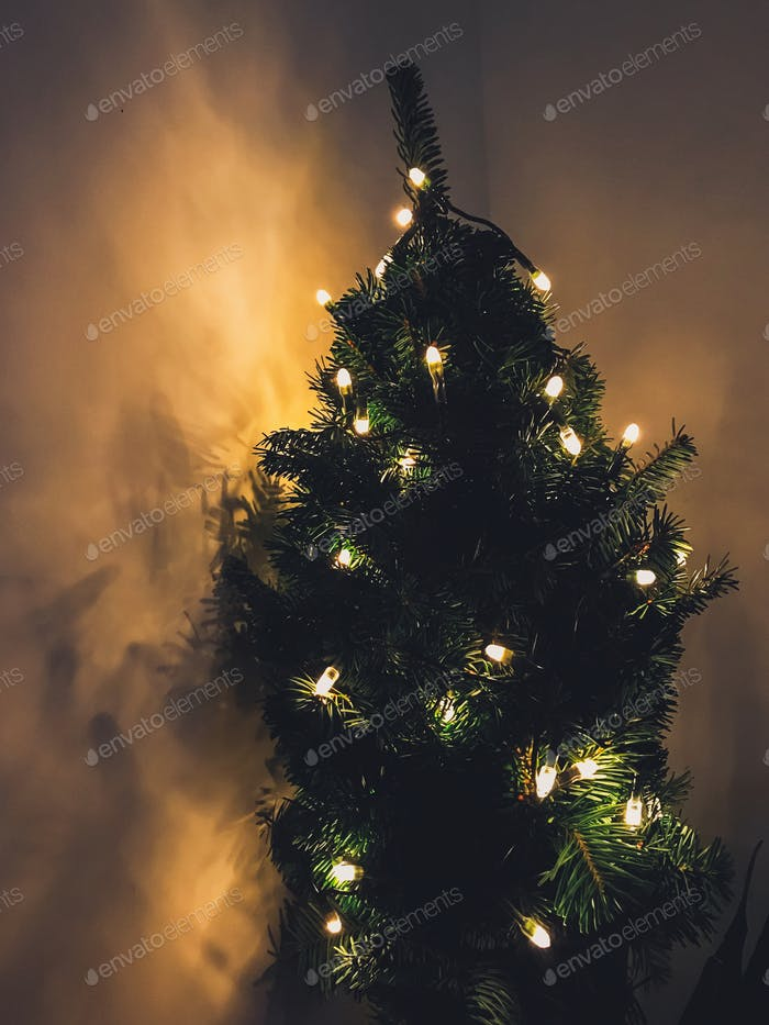 Stylish little christmas tree with golden lights in dark room