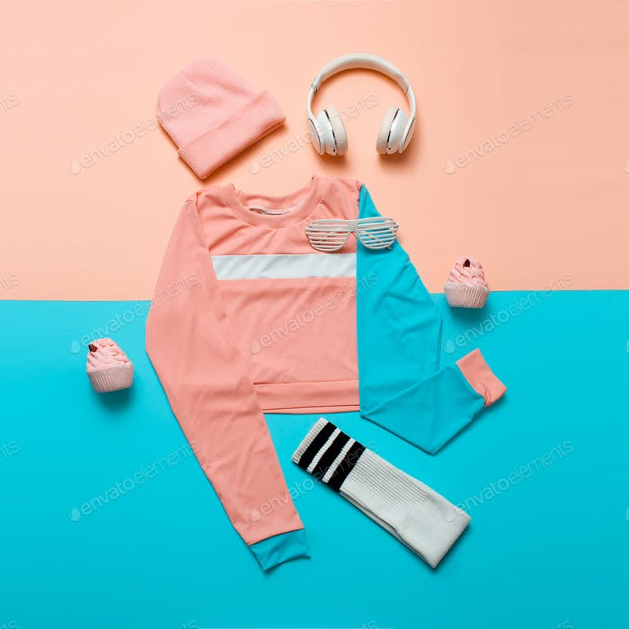 Stylish sports blouse and accessories. Top view. Minimal. Hipste