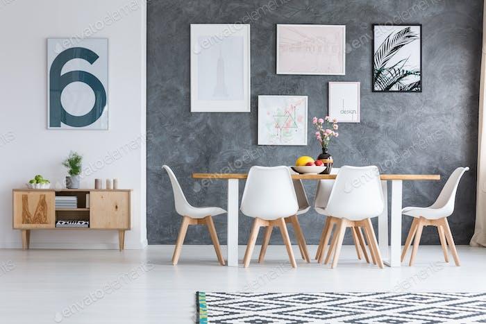 Black and white geometric carpet