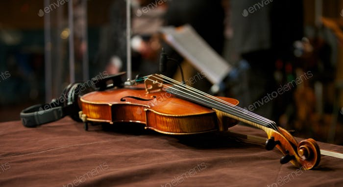 Violin in Music Studio with Headphones