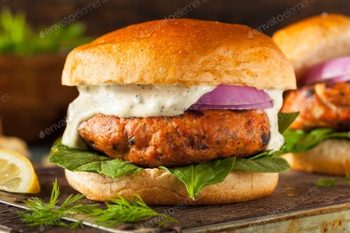 Homemade Salmon Burger with Tartar Sauce