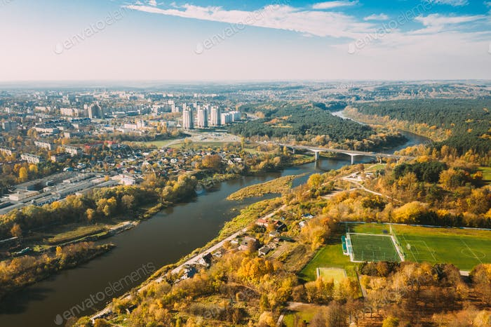 Grodno, Belarus. Aerial Bird's-eye View Of Hrodna Cityscape Skyline. Residential District In