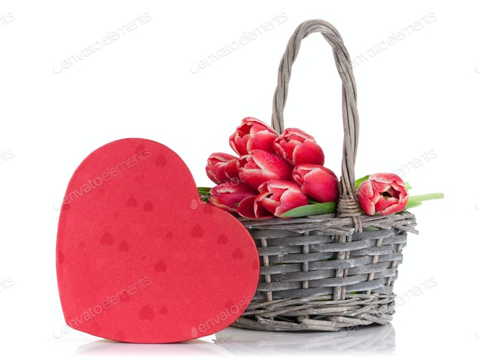 Red tulip flowers and gift box