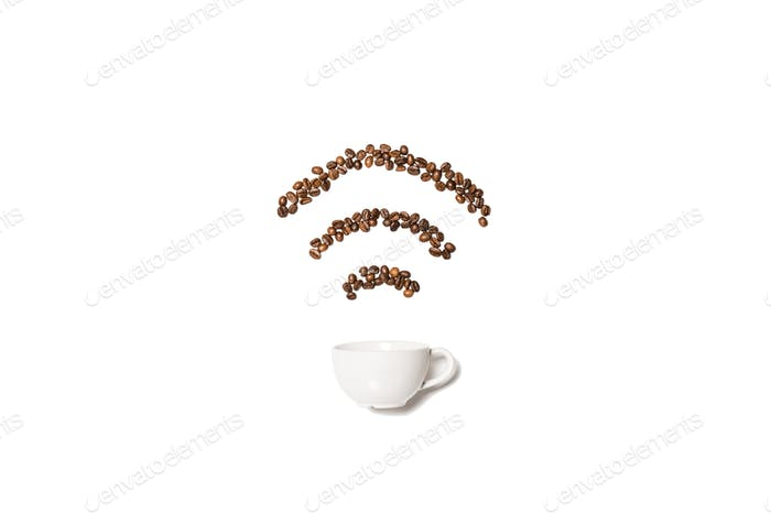 White cup with coffee beans in shape of Wi-Fi symbol isolated on white
