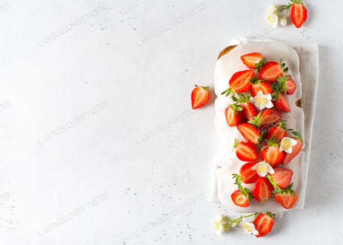 Summer cake with strawberry on white table background,