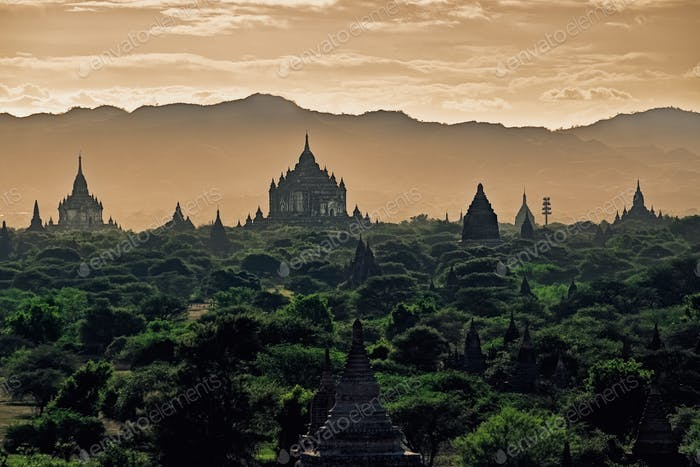 Dark moody sunset with ancient temples in Bagan, Myanmar