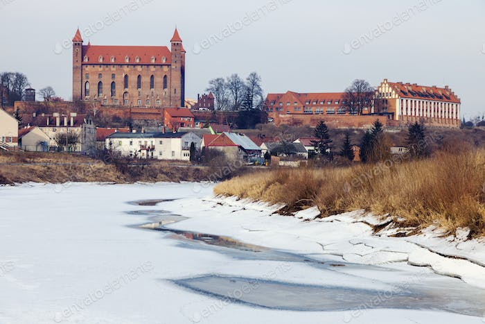 Winter panorama of Gniew