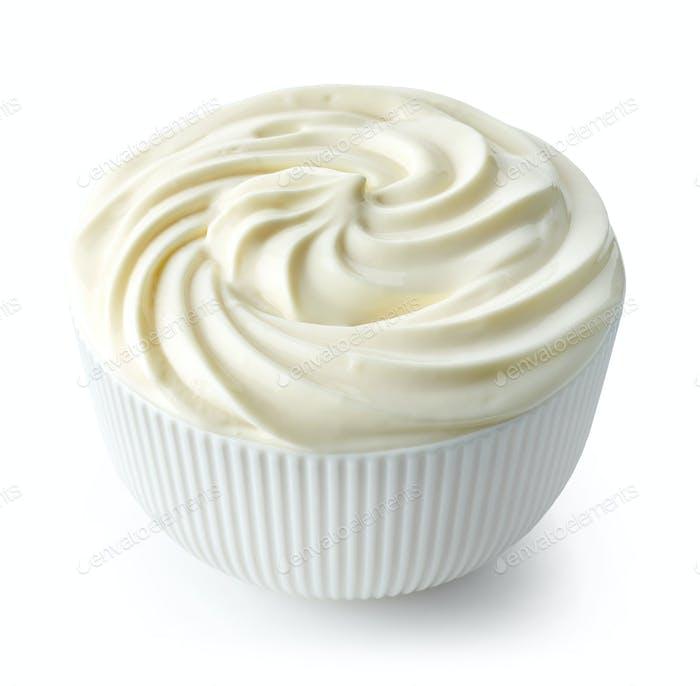 bowl of whipped yogurt cream