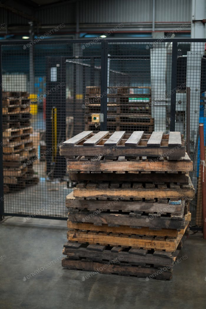 Stack of pallets in factory