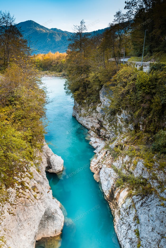 Pristine Soca River in Slovenia Triglav Park at Fall
