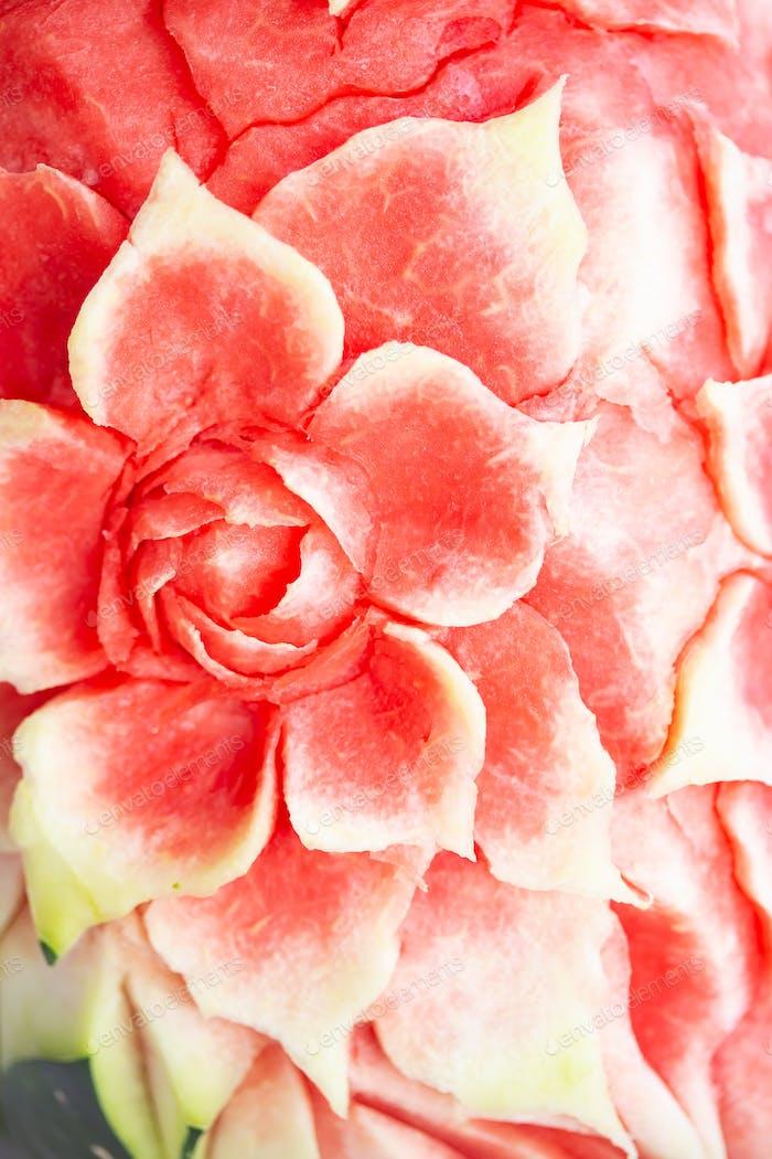 Wassermelone Thai Fruchtschnitzen Lebensmittel-Hintergrund