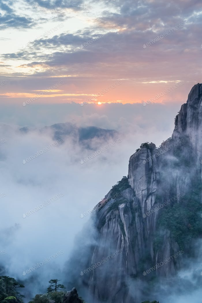 mount sanqing in sunset
