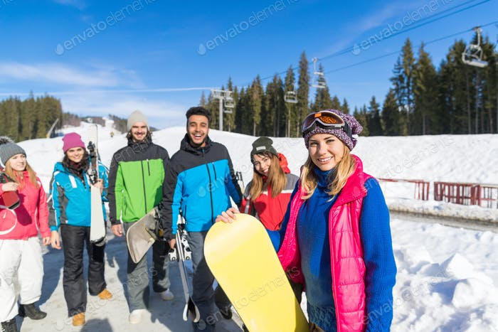 People Group With Snowboard And Ski Resort Snow Winter Mountain Friends Communication