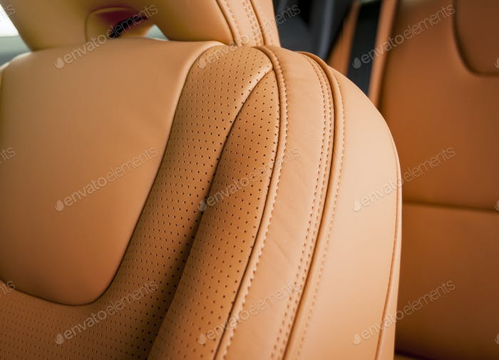 Interior of modern luxury car, red leather interior