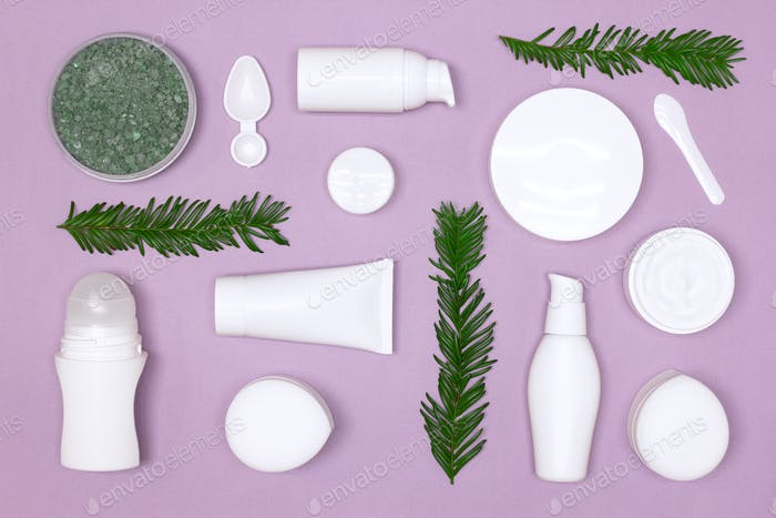 Natural organic skin care cosmetics flat lay