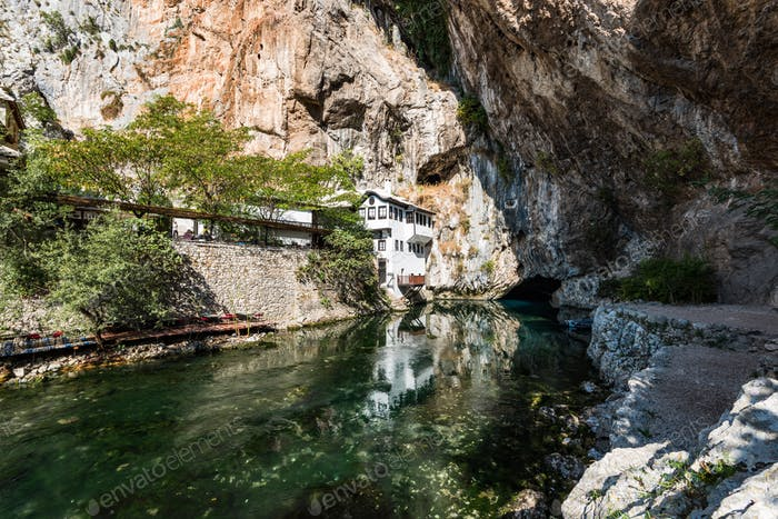 Blagaj Tekke, Dervish House, in rocks at Buna river, Bosnia And