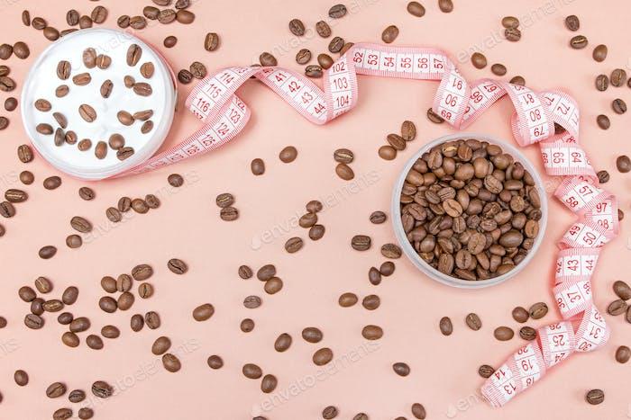 Cellulite-Creme mit Koffein-Konzept