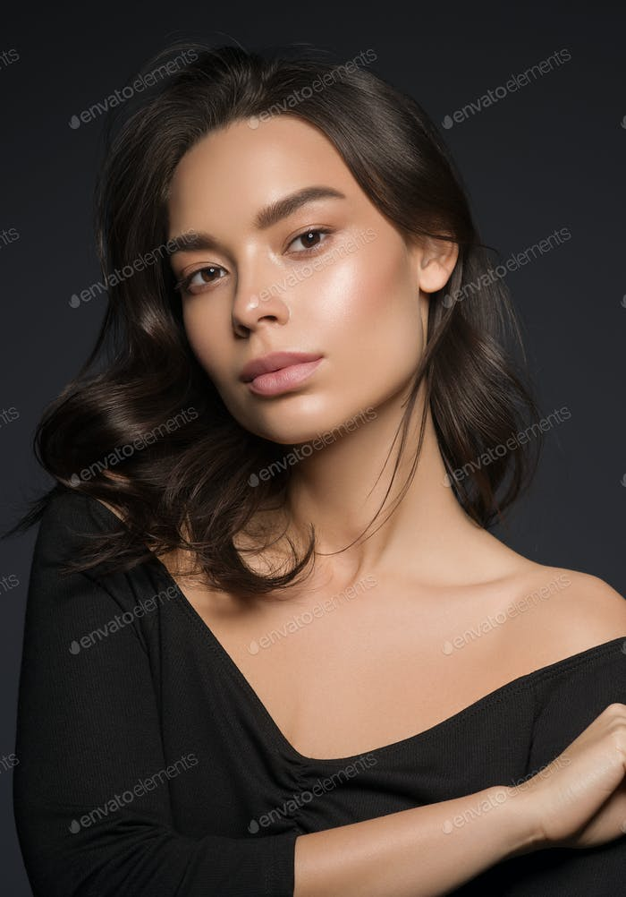 Asiatische Schönheit Frau Gesicht natürliche Make-up Kopf Schuss