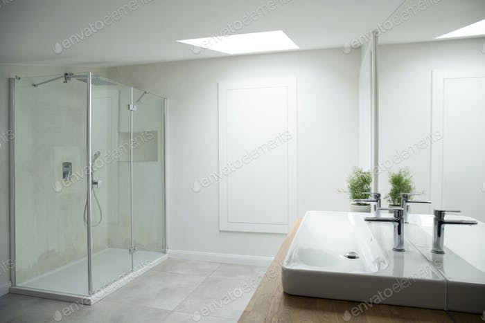 White bathroom interior with window
